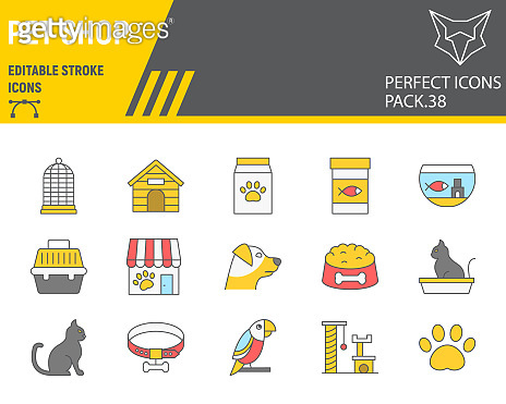 Pet Shop color line icon set, pet store collection, vector graphics, logo illustrations, pet shop vector icons, animal signs, filled outline pictograms, editable stroke.