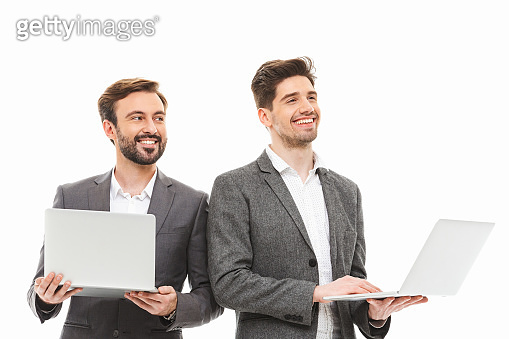 Portrait of a two excited business men