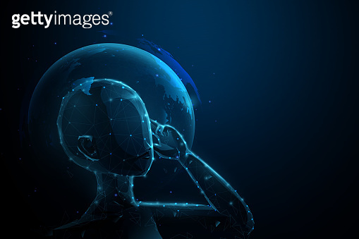 Human and technology concept. Artificial intelligence, AI. Social media and Communication. 3d vector illustration
