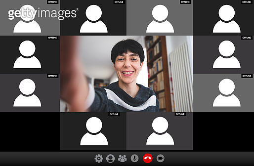 Live streaming video conference. Woman hosting a call waiting for Users attendance