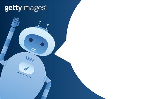 Funny robot or chatbot and big empty speech bubble. Message template. Business communication banner. Artificial intelligence greets