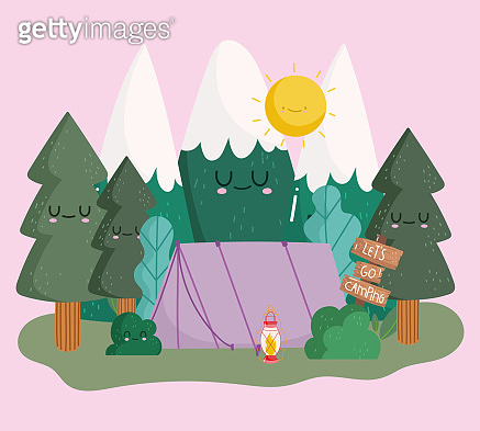 camping tent mountains trees forest nature in cartoon style design