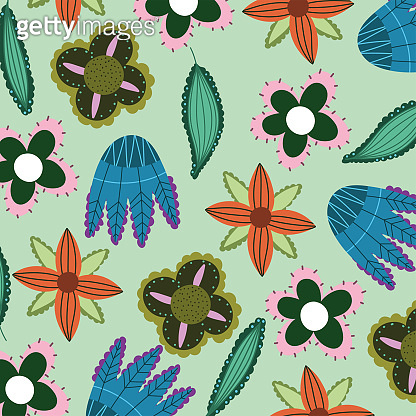 decorative flowers leaves floral nature pattern seamless design