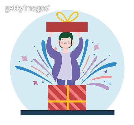 boy inside gift box party celebration cartoon