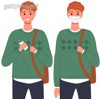 Male character is using a medical mask. Coronavirus, quarantine, self-isolation, pandemic, virus