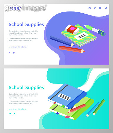 School Supplies, Books and Pencils for Lessons