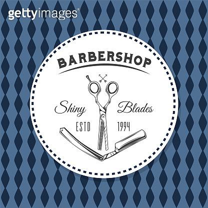 Logotype for barbershop vintage style. Barber shop logo emblem with barber object sign and lettering