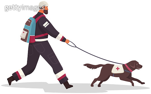 Rescuer with backpack in protective suit walks with puppy. Lifeguard dog from security brigade