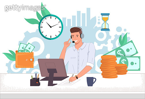 Man operator finance support call center ot hotline at the computer speaks with client online