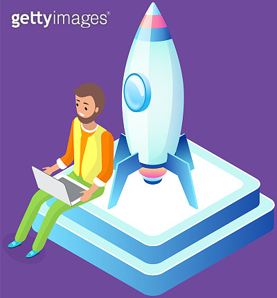 Male character is working on development of new business project, startup with rocket launch