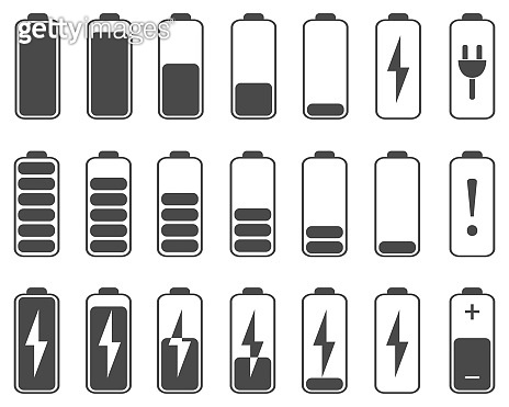 A set of battery charging icons