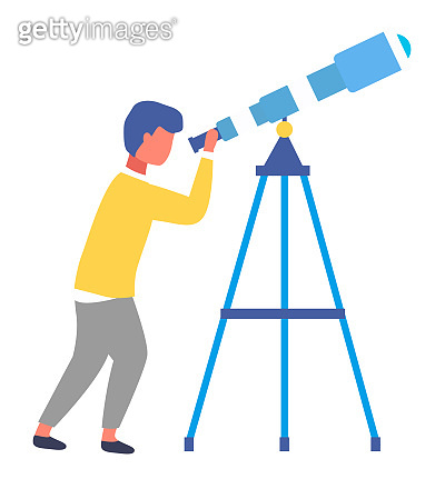 Isolated at white cartoon portrait icon of little boy with telescope, kid exploring space, stars