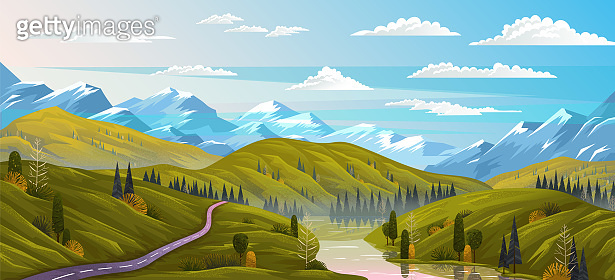 Natural landscape background with mountains, clear sky and the river flows along the winding road