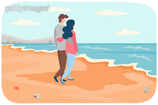 Young couple in relationship hug and stare at sea. Cartoon characters are resting near ocean bank