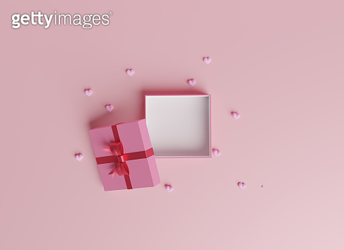 3D of Valentine's hearts with gift box for Happy Women's, Mother's, Birthday.