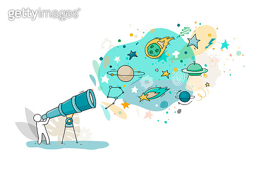 Sketch illustration - man with telescope.