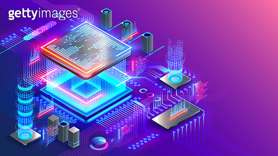 Blockchain cryptocurrency technology. Graphic cpu miner mines electronic crypto currency. Banking Blockchain Fintech. CPU processor chip generating digital money.