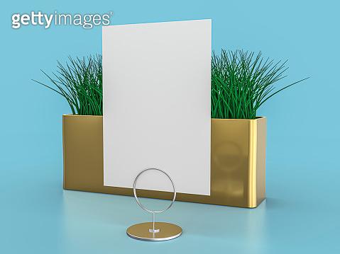 Blank paper Table Tent. Mockup on blue background. 3D illustration.