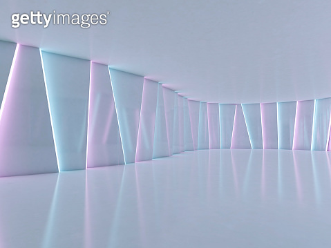 Abstract modern architecture background, empty open space. 3D illustration