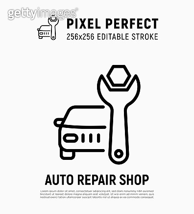 Car repair shop: auto with wrench. Car service. Pixel perfect, editable stroke. Thin line icon. Vector illustration.