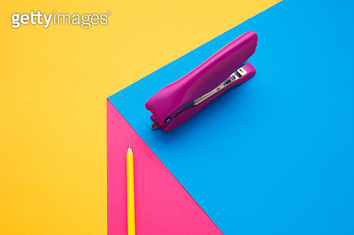 Stationery in bright pop colors with visual illusion effect, modern art
