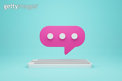 Mobile smartphone and chat icon. Online live chat chatting on application communication digital media website and social network. 3d illustration