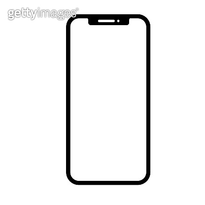 Touchscreen smartphone, mobile phone, handphone thin line icon in black. Trendy flat style isolated symbol, for: illustration, outline, logo, mobile, app, emblem, design, web, ui, ux. Vector EPS 10