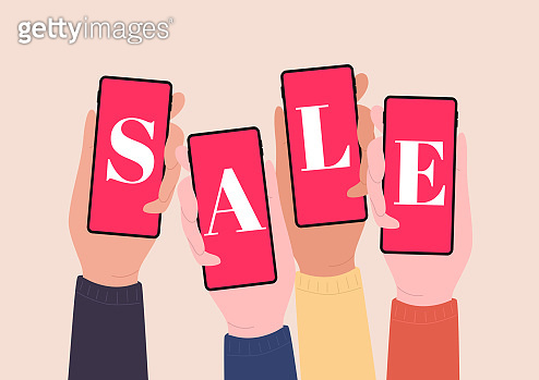 Hands holding smartphones and show SALE. Online shopping with mobile phones.