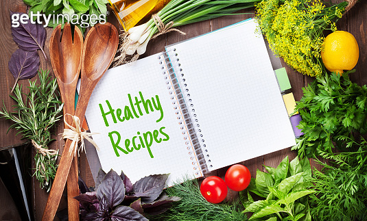 Fresh garden herbs and cookbook