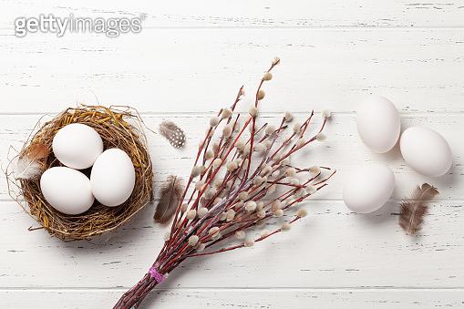 White chicken easter eggs