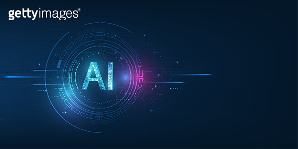 Abstract futuristic digital and technology on dark blue color background. AI(Artificial Intelligence) wording with the circuit design.