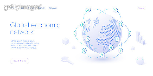 Global economic network in isometric vector illustration. World economy or global financial map concept. Web banner layout template.