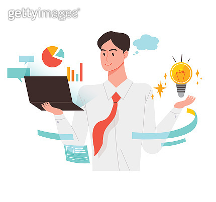 Efficient analysis, a man looking for information and coming up with new ideas.