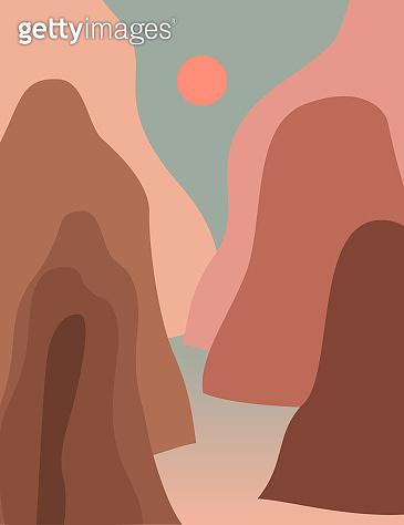 Pink sunset mountain landscape. Modern boho decor wallpaper.