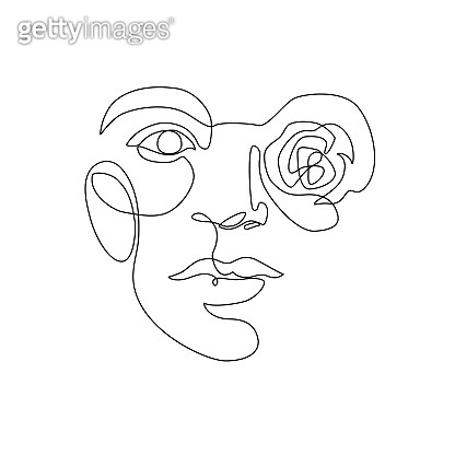 Woman portrait with rose flower, vector illustration for fashion design.