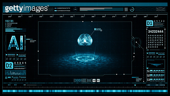 Artificial intelligence concept. Brain over a circuit board and scanning. Graphic user interface head up display. Future technology digital screen background. 3d rendering
