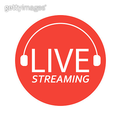 Live broadcasting. The red symbol of live broadcasting and live broadcasting.