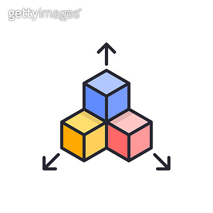 Geometrical figures vector Filled outline icon style illustration. EPS 10 file