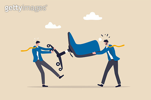 Business competition, fight or compete for vacancy, job promotion or career development concept, businessmen competitor fight and pulling office management chair.