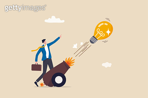 Launch new business idea, creativity and innovative winning solution, entrepreneurship or start up business concept, smart businessman entrepreneur launching light bulb idea from powerful cannon.