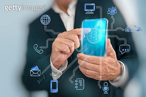 Businessman technology concept touching 5G digital panel