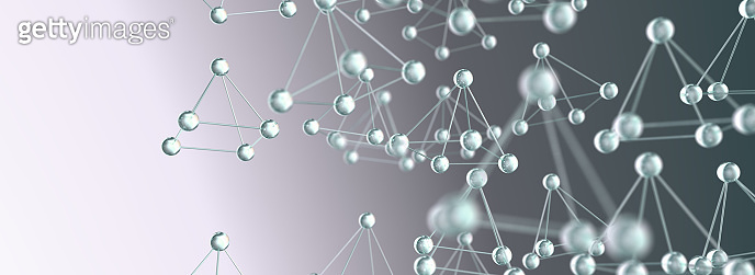 Science and background.3d rendering.Transparent molecule or atom design.