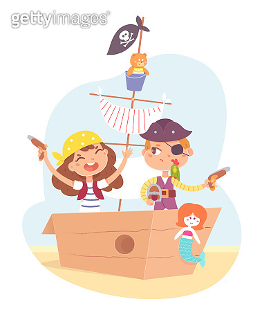 Little children as pirates having adventure in ship. Cute boy and girl with pistols in boat sailing in sand on island vector illustration. Captain with sailor, kids as characters on white background