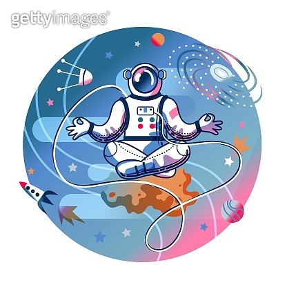Funny astronaut meditating in space. Man in spacesuit sitting in calming lotus position. Space exploration fun entertainment vector illustration. Cosmonaut in universe, stars and planets