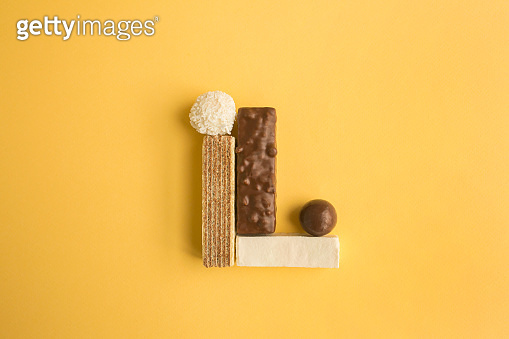 Geometric composition of sweet food with different shapes. Minimal style.