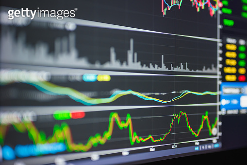 Stock market or trading graph and candlestick chart suitable for financial investment concept. Economy trends background for business idea and all art work design. Abstract finance background.
