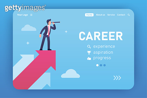 Career. Landing page template. Vector concept of finding new ideas. A businessman in a suit looks through the late tube to find new horizons and ideas. Business. Freelance, Career and Competition.