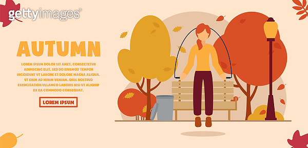 Vector autumn concept. Girl jumping rope in the autumn park. Falling multicolored leaves from trees. Autumn sports and activities. Can be used on the website and web banner.