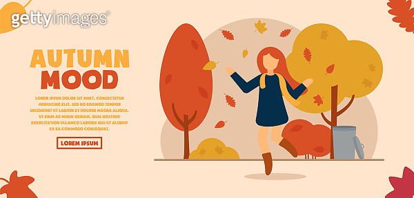 Vector concept of autumn mood. A girl in a beautiful autumn park rejoices in nature and throws colorful leaves over her. Autumn entertainment. Can be used for website and web banner.