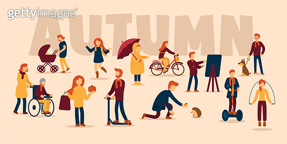 Vector autumn concept on isolated background. Autumn sports, mood inspiration. A girl rides a bicycle, a man feeds a hedgehog, a girl plays and jumps through puddles, a boy draws a picture.